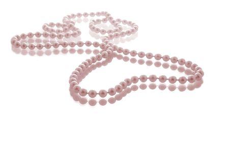 perlas: Pearl cadena en forma de coraz�n con tinte de color rosa