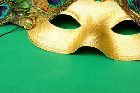 Carnival mask with green background