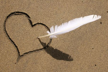 anniversary beach: Heart and feather