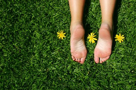 Female feet on grass with sunny yellow daisies