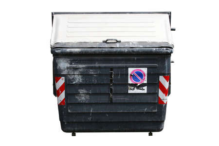 Old battered wheelie bin isolated on white with CP Stock Photo - 371098
