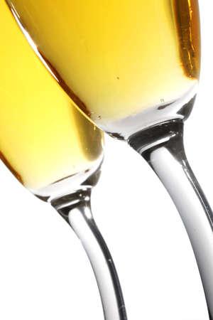 brindis champan: Tostada de Champ�n del �ngulo bajo con los cristales curvy-provenidos
