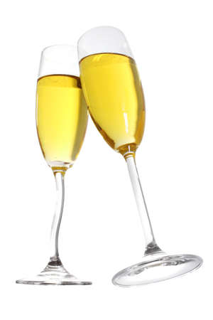 Champagne toast with two flutes with curvy stems , includes CP