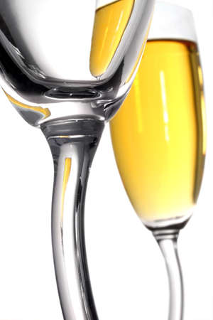 Champagne glass abstract; one full glass viewed through an empty one Stock Photo - 371112
