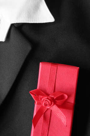 dinner jacket: Dinner jacket with red gift box in the pocket