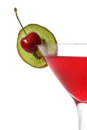 toothpick: Close up of red cocktail with cherry and kiwi slice garnish; over white