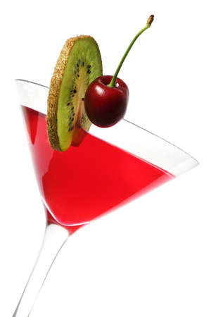 garnish: Red cocktail with cherry and kiwi garnish