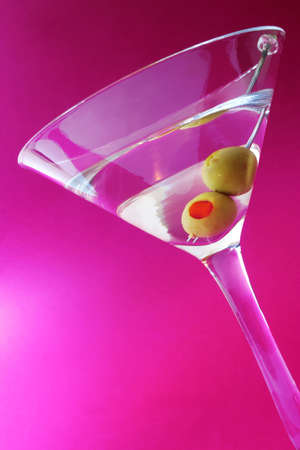 Martini cocktail with twoolives and mauve background