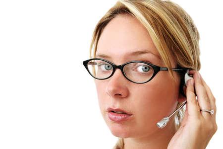 hands free phone: La guap�sima mujer con gafas y tel�fono manos libres headpiece