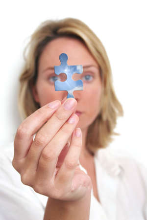 Woman looking at blue sky jigsaw piece photo