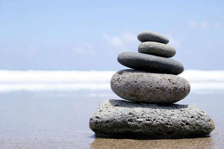 Pebble stack on the seashore Stock Photo - 423883