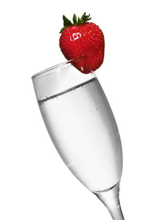 cava: Black and white champagne with color strawberry Stock Photo
