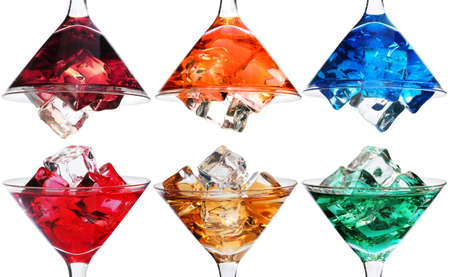 Six cocktails with ice in rainbow colors photo