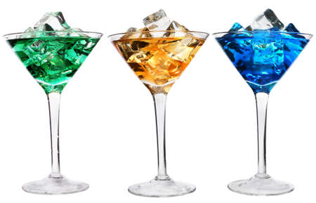 rainbow cocktail: Three cocktails with ice over white