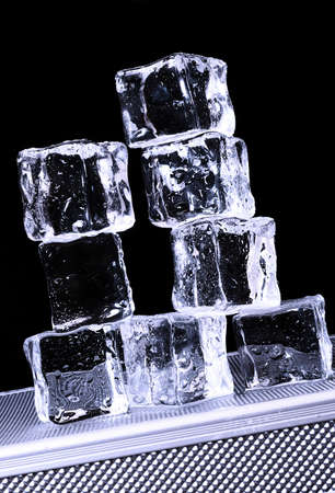 Ice cubes on freezer tray