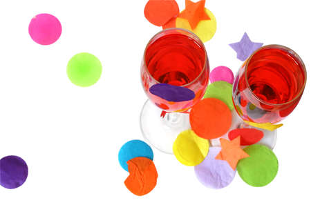 Two red party cocktails with confetti photo