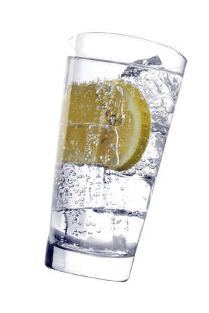 fizzy: Glass with fizzy liquid and lemon slice