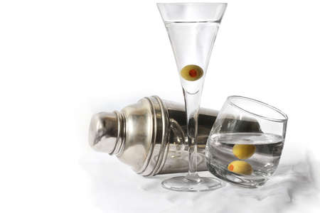 vermouth: Martinis and cocktail shaker over white Stock Photo
