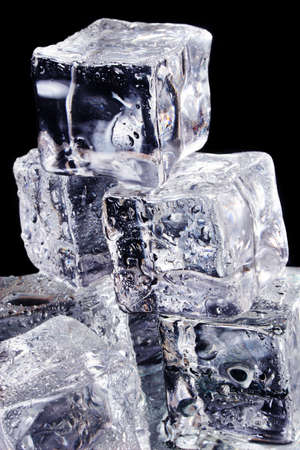 upclose: Ice cubes up-close with black background