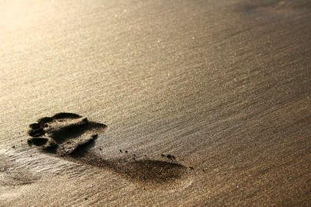 desert footprint: Big footprint on golden sand at sunset