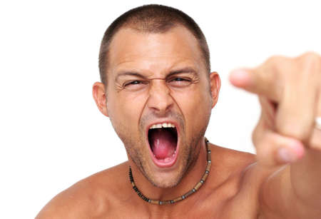deranged: Man over white pointing with angry expression