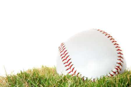 Clean Baseball with grass and white background