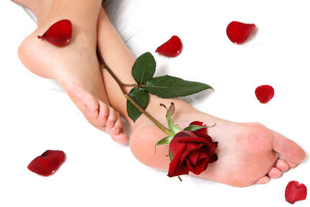 fondle: Pretty feet with single rose and loose petals