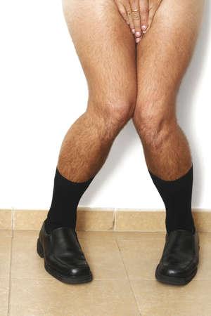 acoso laboral: El hombre de negocios cogi� en el acto con sus pantalones apagado Foto de archivo