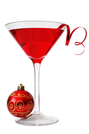 Red cocktail with red streamer and bauble