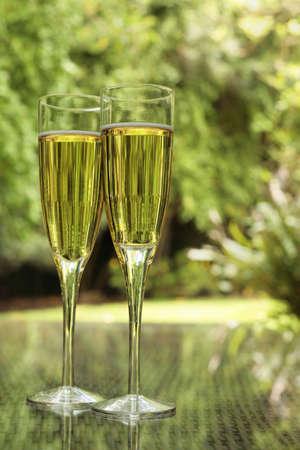 flauta: Dos copas de champa�a ba�ada en luz verde en una terraza de verano