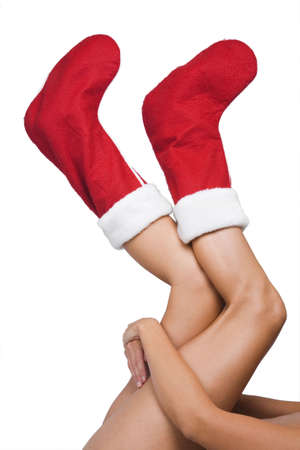 christmas sock: Woman with red christmas stockings on her feet