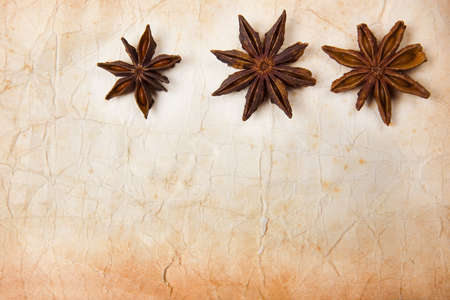 Old foxed paper background with star anise pods photo