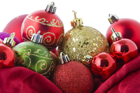 Lots of beautiful Christmas baubles arranged in an attractive still life. photo