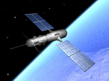 raytrace: Satellite over the earth 1 Stock Photo