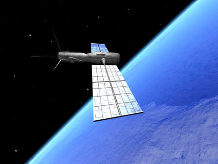 raytrace: Satellite over the earth 2 Stock Photo