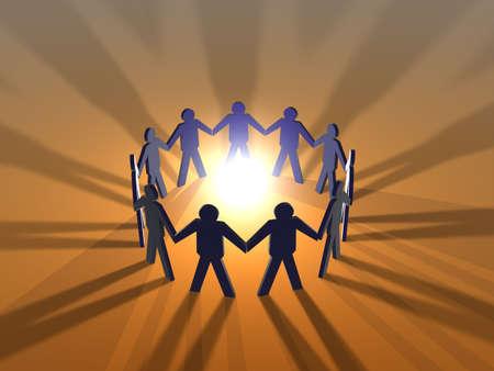 metaphorical: Power of Teamwork - red Stock Photo