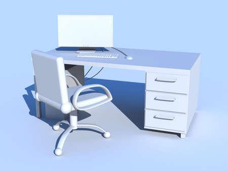 furniture hardware: Azul PC lugar de trabajo