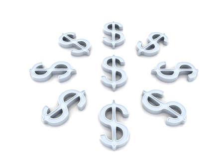 Silver Dollar Composition Stock Photo