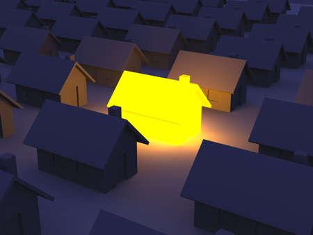 owning: Illuminated Toy house Stock Photo