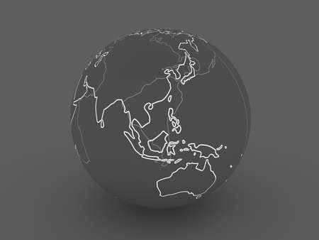 coast line: Dark Globe - Asia