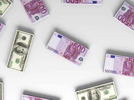 3D rendered Illustration.  Dollar and Euro notes. illustration