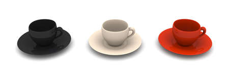 mocca: Three Coffee Cups  Stock Photo