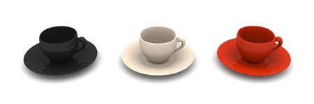 cofffee: Three Coffee Cups  Stock Photo