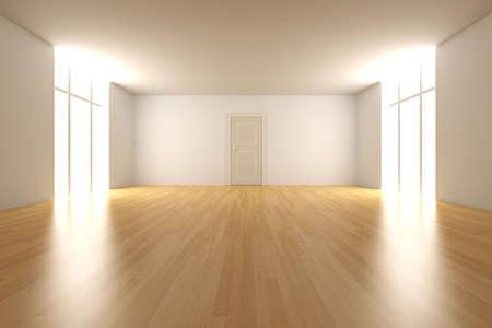 locked door: 3D rendered Interior. An empty room.