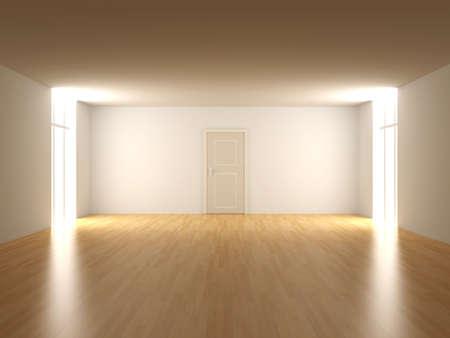 doorstep: 3D rendered Interior. An empty room.