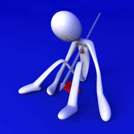 killed: 3D rendered Illustration. Got killed by a speer. Stock Photo