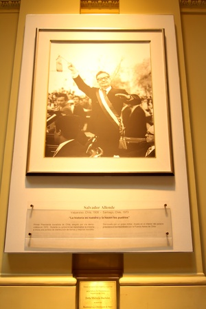 salvador allende: Memorial image of Salvador Allende in the Casa Rosada, the government building in Buenos Aires, the Capital of Argentina.