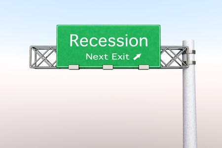 3D rendered Illustration. Highway Sign - Next exit to Recession.