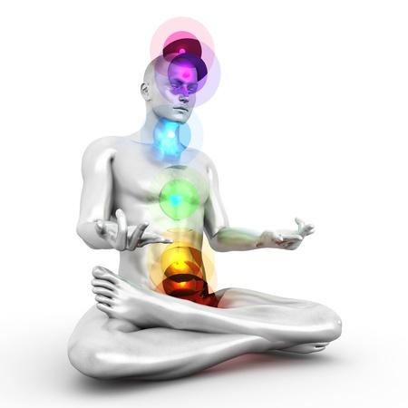 human aura: A woman performing a full chakra meditation. 3D rendered illustration.