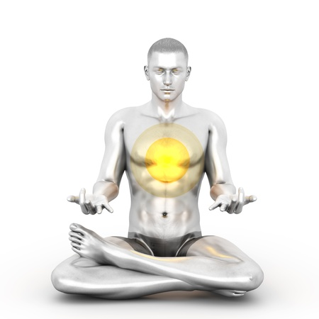 holistic health: A woman performing a Anahata chakra meditation. 3D rendered illustration.